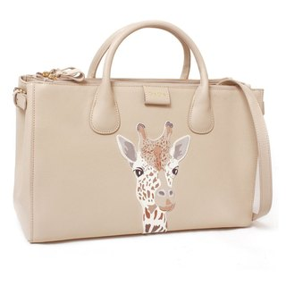 Fantasy World Giraffe Appliqué Leather Double-Zip Tote Bag