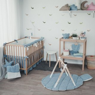 Pastel blue baby bedding set, linnen pillow and duvet cover, rail cover, bumper, bed skirt, bed sheet