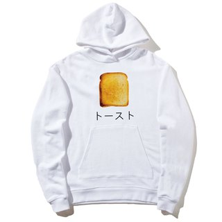 Japanese-Toast front figure long-sleeved bristle hooded T white toast Japanese Japanese bread breakfast food cream design own brand breakfast
