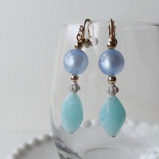 Fresh light blue and moon-aqua Earrings