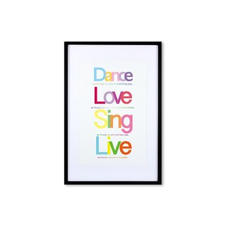 HomePlus Decorative Frame - Quote Series DanceLoveSingLive - Black 63x43cm Homedecor
