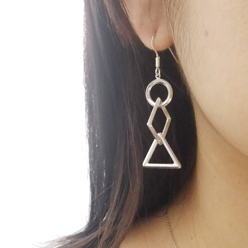 Sterling Silver Geometric Interlocking Earrings