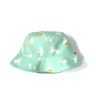 Cool summer polar bear double-sided fisherman hat - mint green