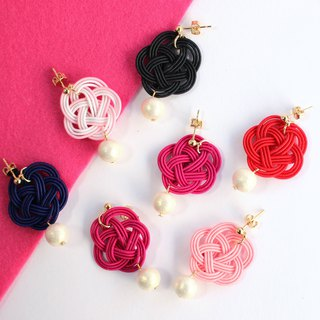 japanese style pierce earring / mizuhiki / japan / accessory / flower