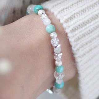 Senshi. Natural ore sterling silver bracelet chain Mozambique Tianhe stone fog sand silver beads white crystal