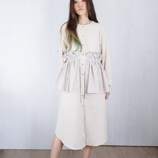 OUD Original Cotton Linen Gingham Check Ruffle Tiered Long Sleeves Shirt Dress