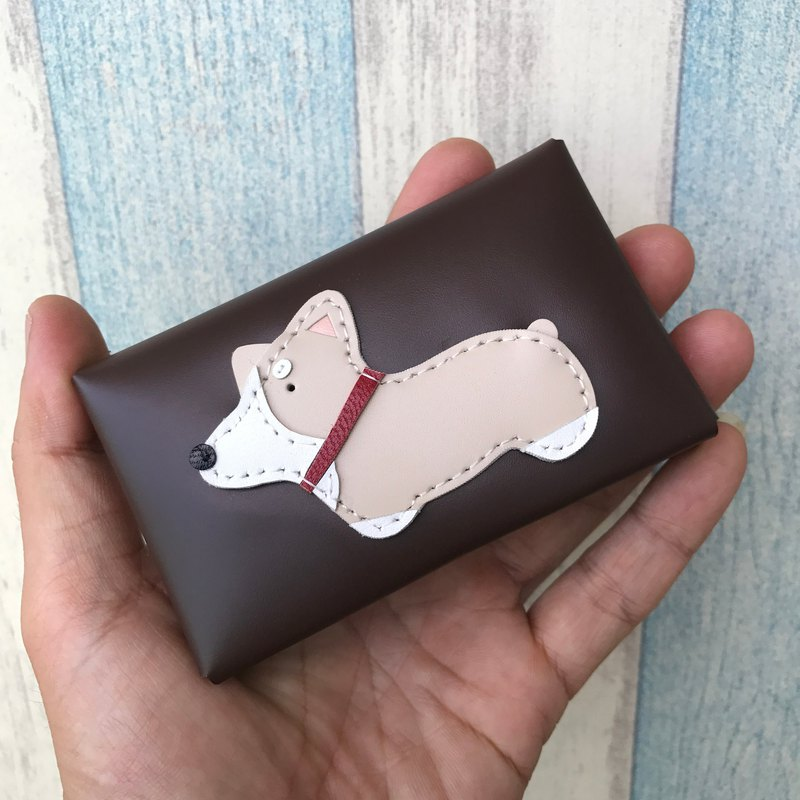 Handmade Leather Taiwan MIT Corgi Dog Dark Brown Card Holder