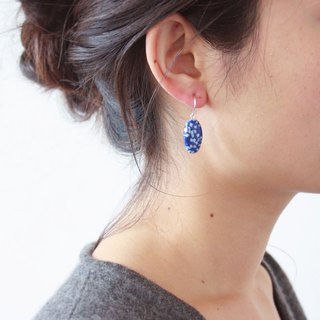 Blue and white sea stone hand-dyed ceramic earrings high temperature firing hanging earrings 925 silver ear hook