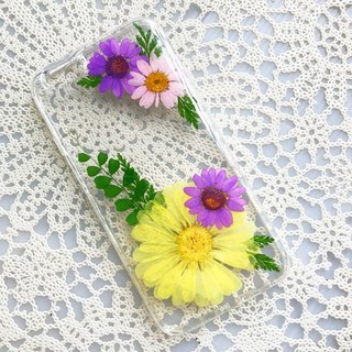 iPhone 7 Dry Pressed Flowers Case Yellow Daisy Flower case 013