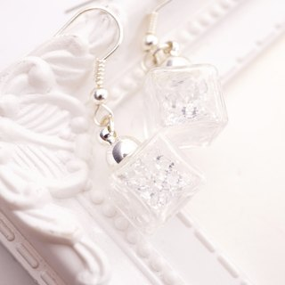 A Handmade glass ball earrings white crystal ice