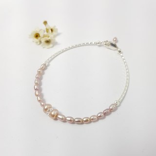 【ColorDay】天然粉紅珍珠+白水晶純銀手鍊〈Naturel Pink Pearl / Crystal Quartz Silver Bracelet〉