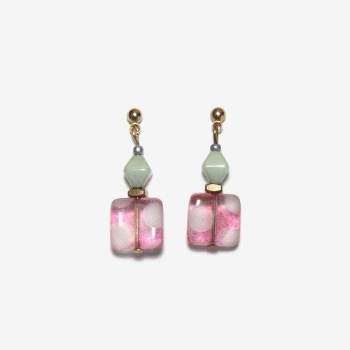 Pink Dot Square and Light Green Beaded Earrings, Post Earrings, Clip On Earrings