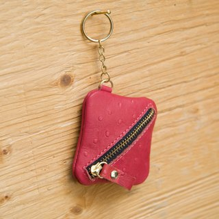 [Small box] ZiBAG-010 / Coin Purse / Key ring / Camellia powder - ostrich pattern