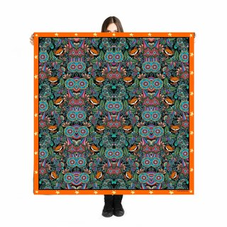"Large Scarf ""Volpe nella Foresta"" 140x140cm/illustration/Art/Print Scarf/"