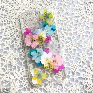 iPhone 7 Dry Pressed Flowers Case Little Horse with Colourful Flower 014