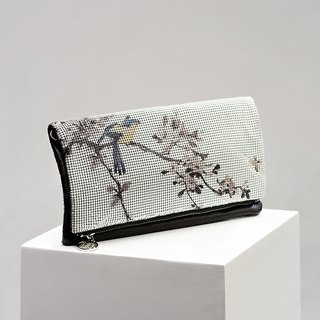 CoinQian flower and water folding handbag China wind clutch white