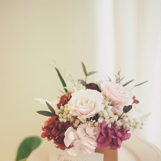 Small garden pink color immortal rose + not withered flower hydrangea bronze flower small table flower ceremony
