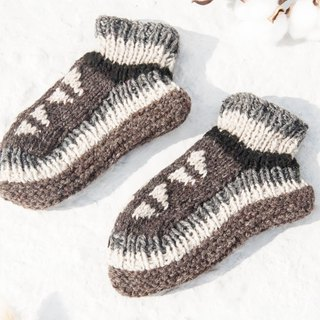 Hand-knitted pure wool knit socks / inner brushed striped socks / wool crocheted stockings / warm wool socks - coffee latte