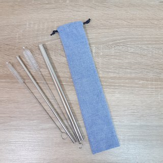 Straw five-piece group / storage sleeve 316 stainless steel straw Boba / general 2 brush / Japanese blue