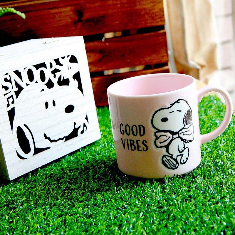 畢業禮物SNOOPY史努比-情誼系列馬克杯+史努比木盒(Good Vibes)