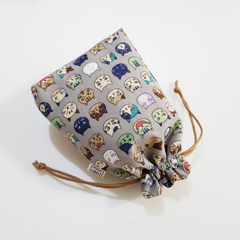 [Little Flower Cat-Gray] Bundle Pocket Storage Bag Carry Bag Cosmetic Bag Christmas Exchange Gift