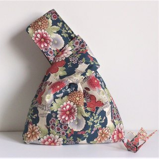 Knot Bag (Double-sided: Japanese-style big flowers x Military Green)