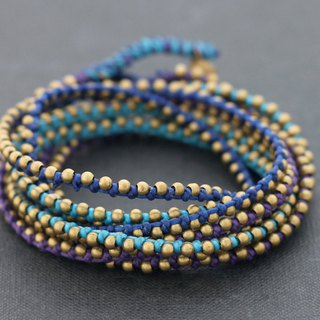 Blue Brass Stud Wrap Multi Strand Cotton Waxed Cord Bracelets Bohemian