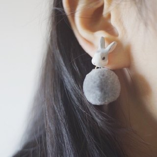[Unicorn Forest] Gray Rabbit Hairball Single earring / ear clip