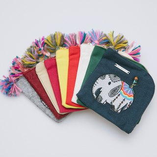Cotton Canvas Embroidery Coins Bag -  Elephant And Cactus Daddy 1