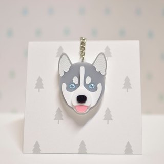SKI (Gray) - Keyring - Pet Accessories - Pet Charm - Hairy Kids - Gifts - Custom - Acrylic - BU