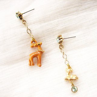Meng-like forest deer fruit green diamond asymmetrical earrings