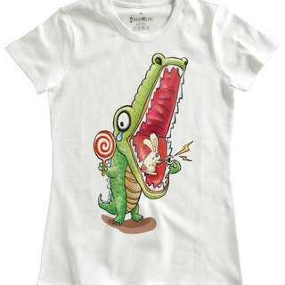 Classic white short-sleeved T-shirt _ toothache crocodile vs shaking rabbit (male without stock)
