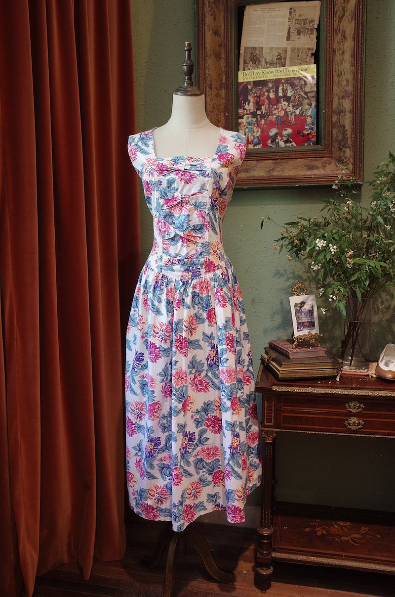 vintage dress印花蝴蝶結連衣裙古著洋裝