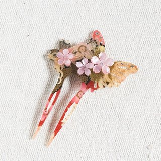 Wu Qiu Feng, butterfly hair plug, hairpin, hairpin - Red Ink