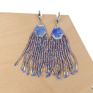 Violet-Blue Waterfall Beaded Tassel Earrings