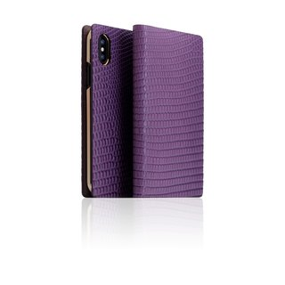 SLG Design iPhone Xs / X D3 ILL Classic Lizard Side Leather Leather Case - Purple