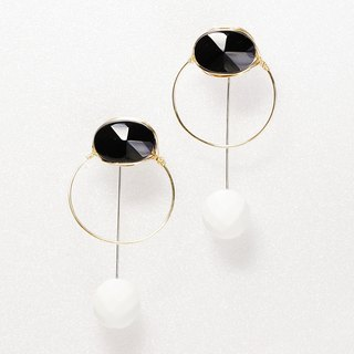 14kgf×silver925 Black wrap 2way pierced earrings