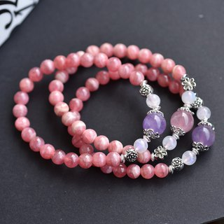 Purple jade + Mashima powder + moonstone + rhodochrosite sterling silver flower bracelet