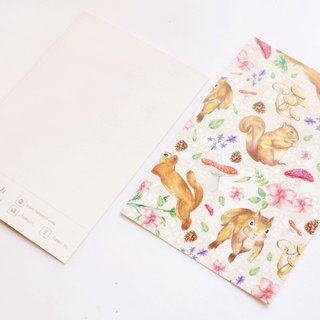 Cute little squirrel postcard forest mushrooms