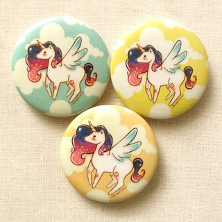 獨角獸徽章組 - 天使馬胸章 [三入] - Unicorn Pinback Buttons - Small Pins [Set of 3]