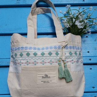 Nordic particular small blue-green pattern embroidered ribbon tassel bag / handbag / shoulder bag / cotton canvas / handmade