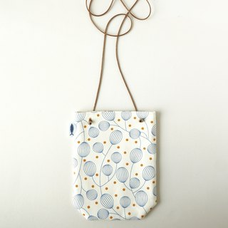 / Lantern Flower - White / / Corner Walking Pouch / Mobile Phone Bag / Minimalist Outing Pouch