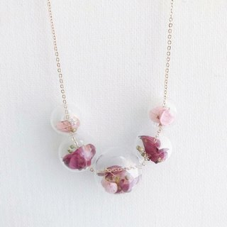 Dirty Pink Deep Rose Red  Preserved Flower Glass Ball  Necklace