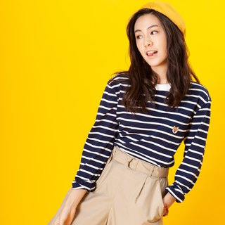【Pjai】Stripes Long Sleeves T-shirt- Navy//Yellow (TP650)