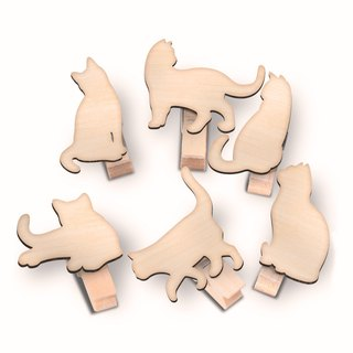Lazy cat wood clip group (six into a group)
