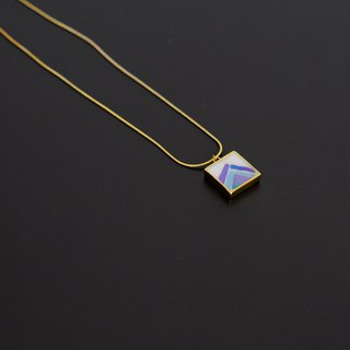 Hand-Made Mosaic Gold Plated Necklace 925 Silver Plated Gold Blue Geometric Square Pendant