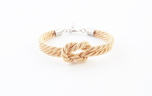 Light gold knot rope bracelet