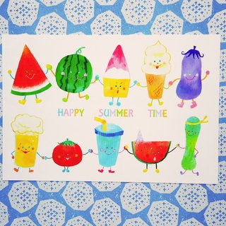 Postcard (Summer) Happy summer time summer fruit ice room