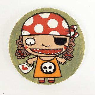 Nice Little Clay illustration absorbent ceramic coasters _ Little Lady Pirate 5704
