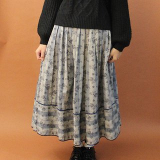 Vintage European Village Gray Blue Striped Floral Thick Cotton Cloth Vintage Dresses Vintage Skirt